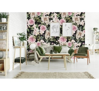Pink and White Peony Flowers Removable Wallpaper full view