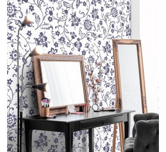 Navy Blue Flowers Removable Wallpaper