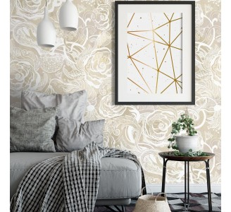 Golden Flowers Removable Wallpaper
