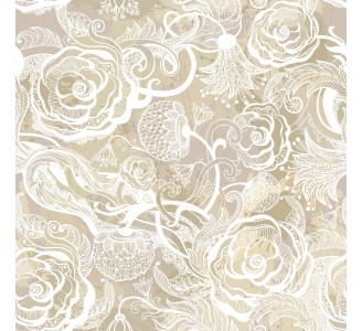 Golden Flowers Removable Wallpaper pattern