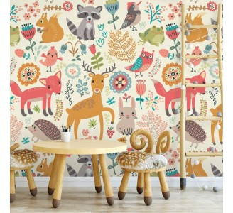 Spring Animals Kids Removable Wallpaper