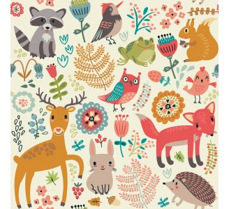 Spring Animals Kids Removable Wallpaper pattern