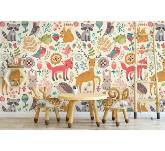 Spring Animals Kids Removable Wallpaper full view
