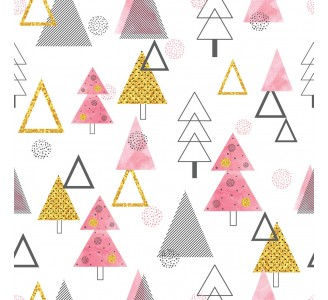 Retro Style Trees Theme Removable Wallpaper pattern
