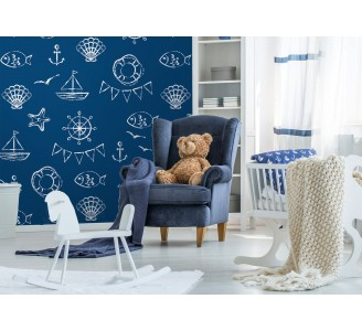 Blue Marine Theme  Removable Wallpaper full view