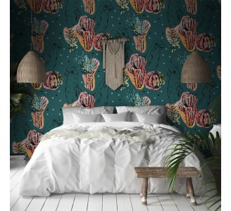 Red Tropical Flora Removable Wallpaper
