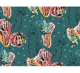 Red Tropical Flora Removable Wallpaper pattern
