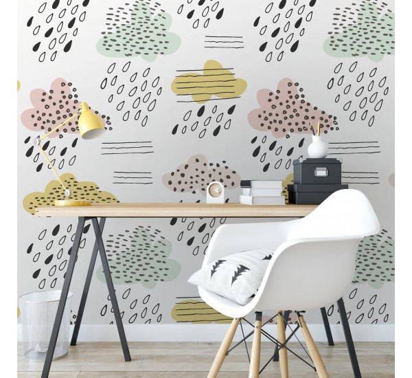 Happy Clouds Removable Wallpaper