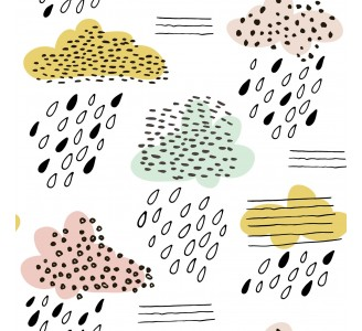 Happy Clouds Removable Wallpaper pattern