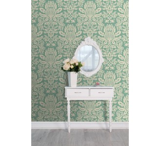 Green Damask Removable Wallpaper full view