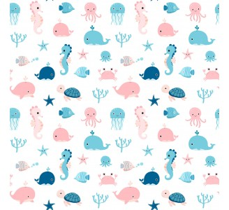 Sea Animals Removable Wallpaper pattern