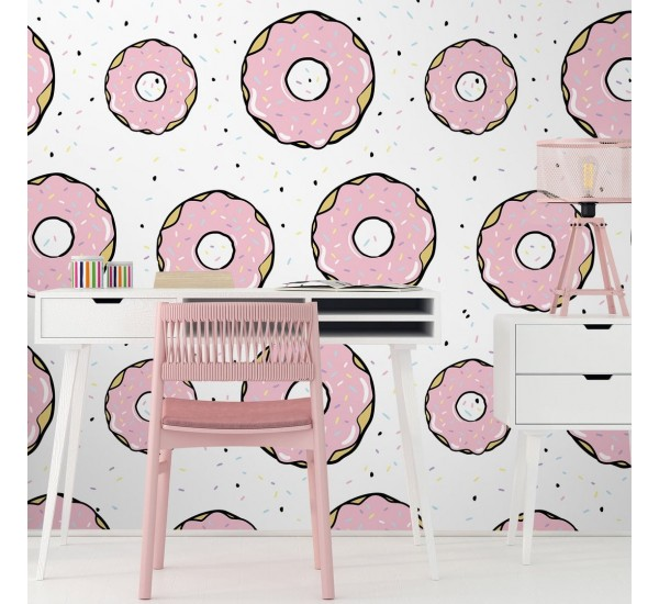 Pink Donuts Removable Wallpaper