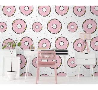 Pink Donuts Removable Wallpaper full view