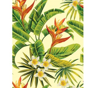 White Tropical Removable Flowers pattern