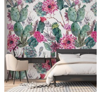 Cactus with Pink Flowers Removable Wallpaper
