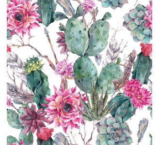 Cactus with Pink Flowers Removable Wallpaper pattern