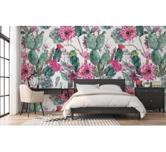 Cactus with Pink Flowers Removable Wallpaper full view