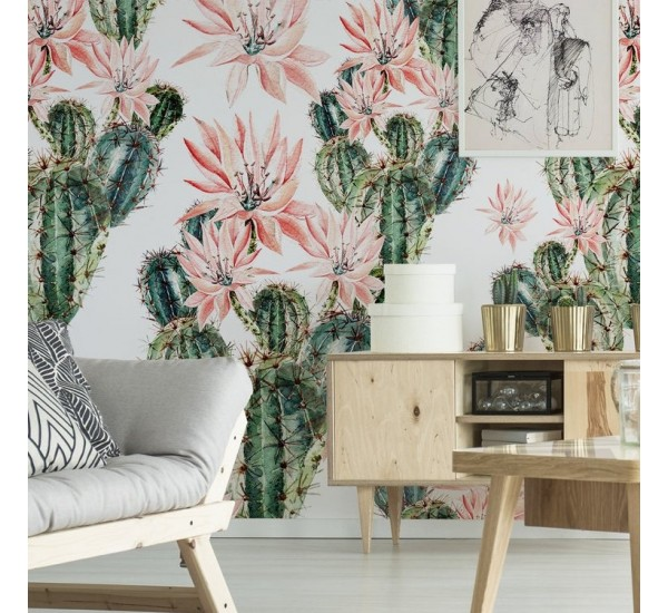 Bloomy Cactus Removable Wallpaper