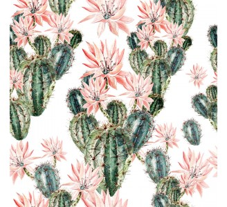 Bloomy Cactus Removable Wallpaper pattern