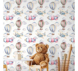 Pastel Air Balloons Removable Wallpaper