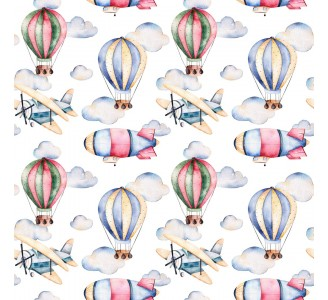 Pastel Air Balloons Removable Wallpaper pattern