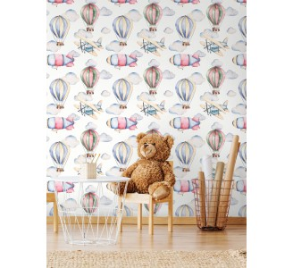 Pastel Air Balloons Removable Wallpaper full view