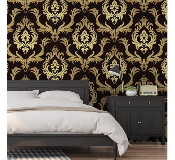 Gold Damask Luxury Removable Wallpaper