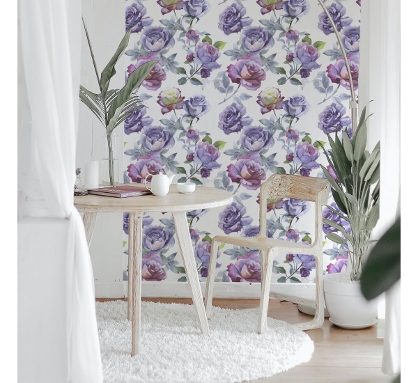 Wildflower Purple Roses Removable Wallpaper