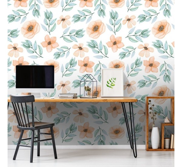 Watercolor Yellow Flowers Removable Wallpaper
