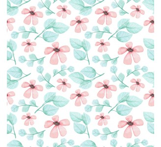 Watercolor Pink Flowers Removable Wallpaper pattern