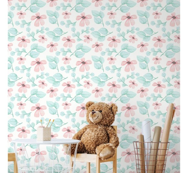 Watercolor Pink Flowers Removable Wallpaper