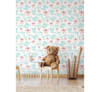 Watercolor Pink Flowers Removable Wallpaper full view