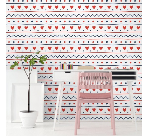 Scandinavian Hearts Removable Wallpaper