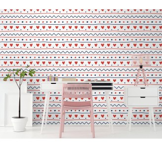 Scandinavian Hearts Removable Wallpaper full view