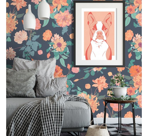 Pink Retro Peonies Removable Wallpaper