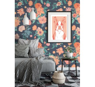 Pink Retro Peonies Removable Wallpaper full view