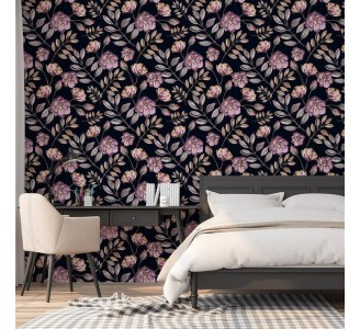 Blooming Pink Roses Removable Wallpaper