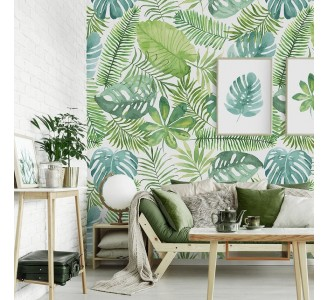 Watercolor Palm Leaves Removable Wallpaper