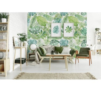 Watercolor Palm Leaves Removable Wallpaper full view