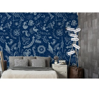 Navy Blue Nautical Theme Removable Wallpaper full view