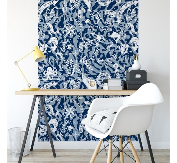Blue Nautical Theme Removable Wallpaper
