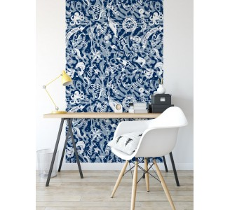 Blue Nautical Theme Removable Wallpaper full view