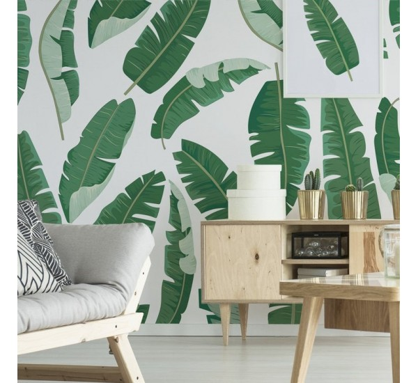 Green Banana Leaves Removable Wallpaper