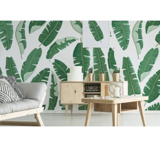 Green Banana Leaves Removable Wallpaper full view