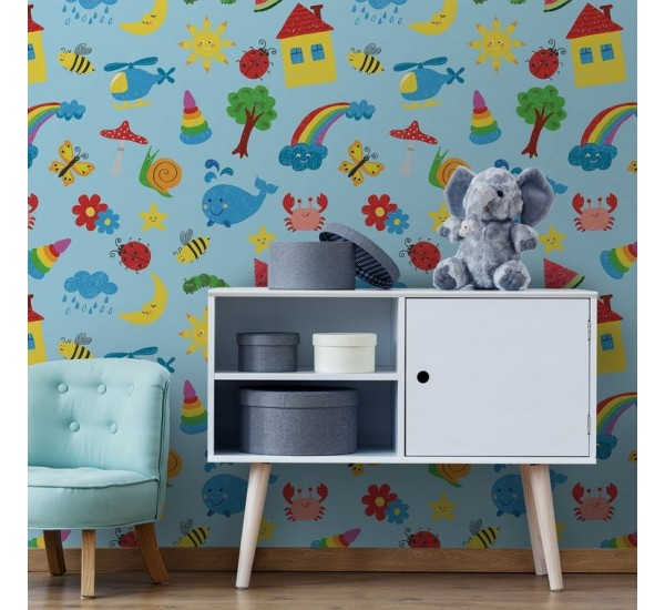 Colorful Drawings Kids Removable Wallpaper