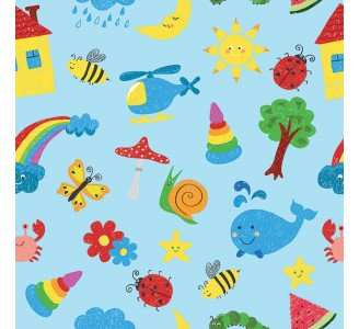Colorful Drawings Kids Removable Wallpaper pattern