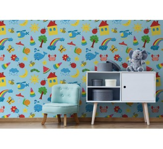 Colorful Drawings Kids Removable Wallpaper full view