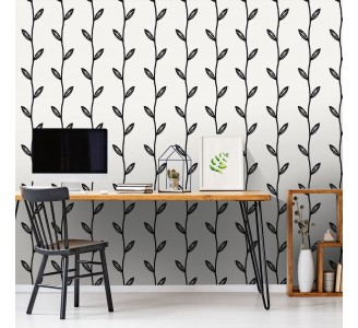 Black Leaf Branches Removable Wallpaper