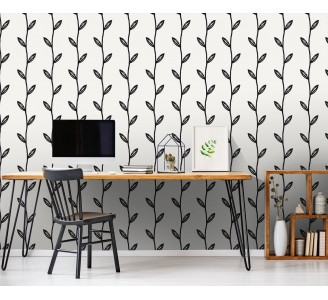 Black Leaf Branches Removable Wallpaper full view