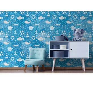 Blue Marine Doodle Removable Wallpaper full view